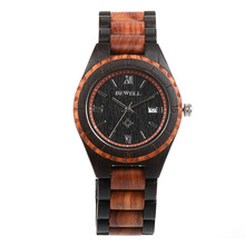 BEWELL Men's Watch Handmade Wooden Watch Brand Design Calendar Quartz Watch Men's Sports Watch Luxury Fashion Leisure 128A