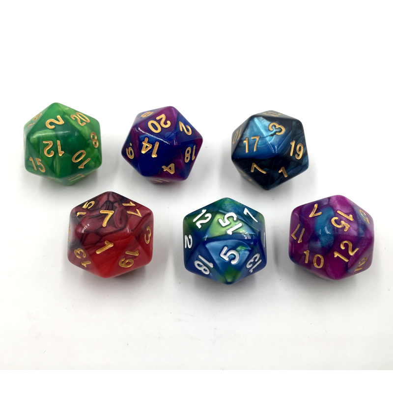 Rollooo Dice Two-Tone D20 RPG Dice Rich Colors D20 Dice For Rpg Dungeons & Dragon 20 Faces Games Dices
