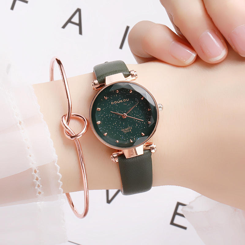 DOUKOU New Brand Mori Girl Watch Indie Pops Women Quartiz Watch Wristwatch Fashion Black Star Leather Lady Watch For Woman(China)