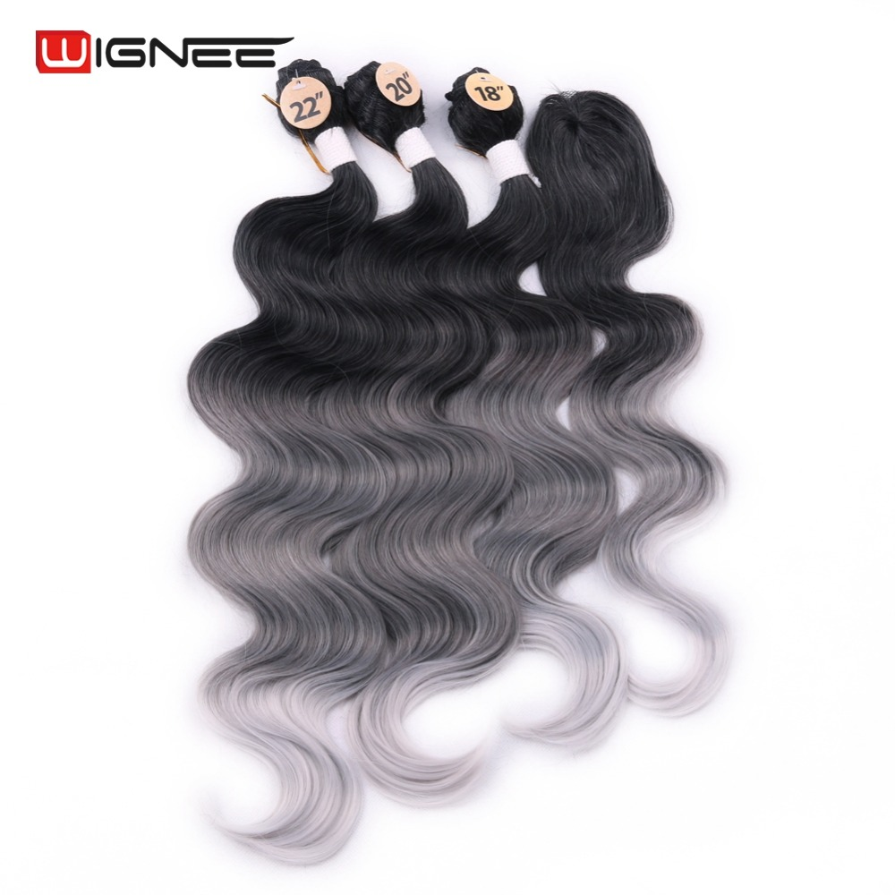 Wignee 3 Bundles With Closure Synthetic Hair Extensions For Women Natural Black Hair To Grey/Purple/Green/Blue Wavy Hair Piece