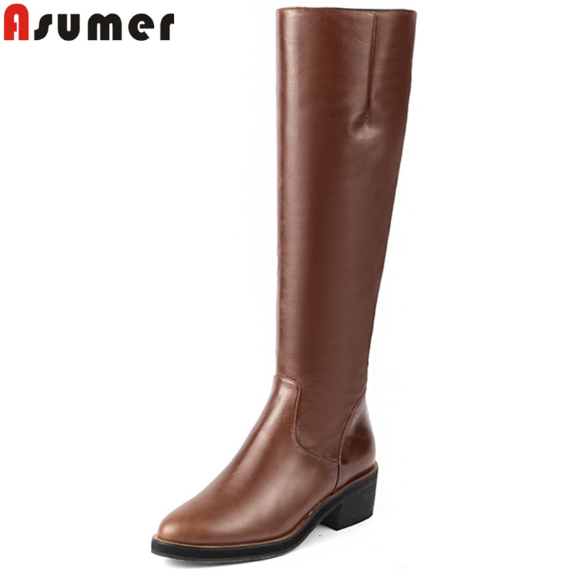 ASUMER 2018 fashion knee high boots round toe zip pu+cow leather boots square heel ladies prom autumn winter boots ASUMER 2018 fashion knee high boots round toe zip pu+cow leather boots square heel ladies prom autumn winter boots