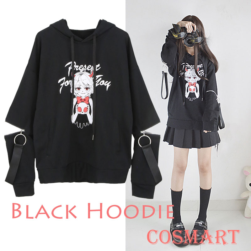 [Set.25th] Black Cotton Fleece Hoodie Tied Long Sleeve Pullover Cosplay Costume Winter Black Coat NEW Free ship