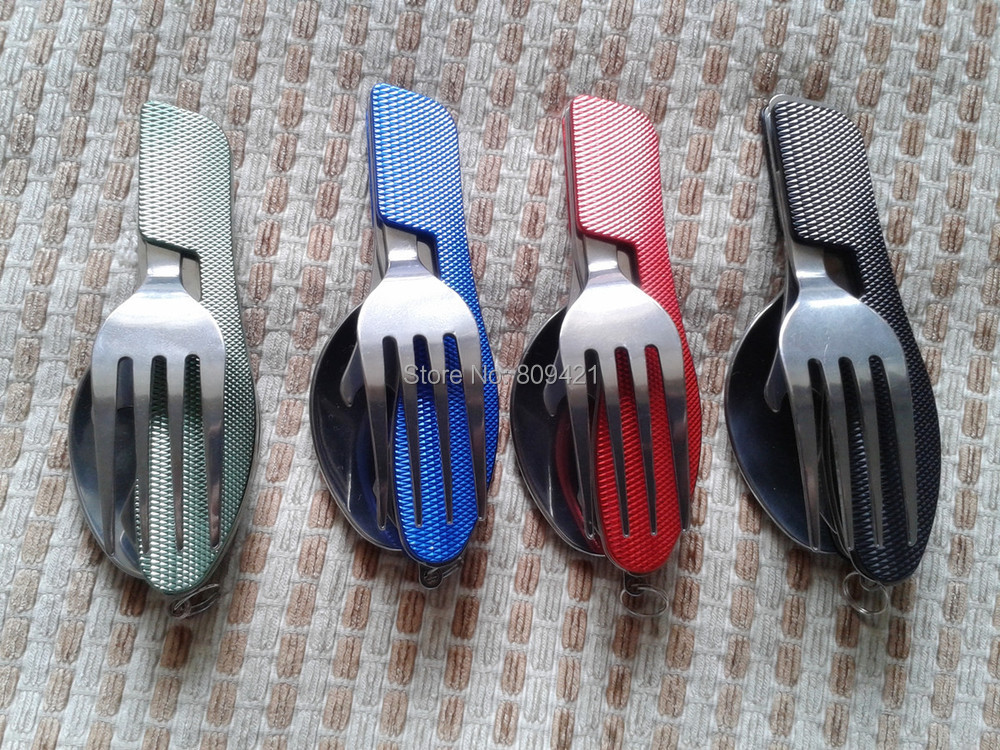Wholesale 100setslot Folding camping cutlery stainless steel cutlery knife fork spoon removable cutlery knife with carrying cas