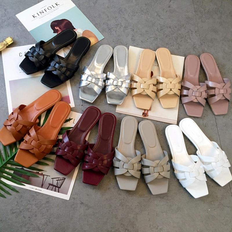 De As Casual Designer Mouton Hot L'extérieur Hommage Carré as À Pics Bout 2018 Summer Chaussures Peau En Pantoufles Pics Femme zqa8dI