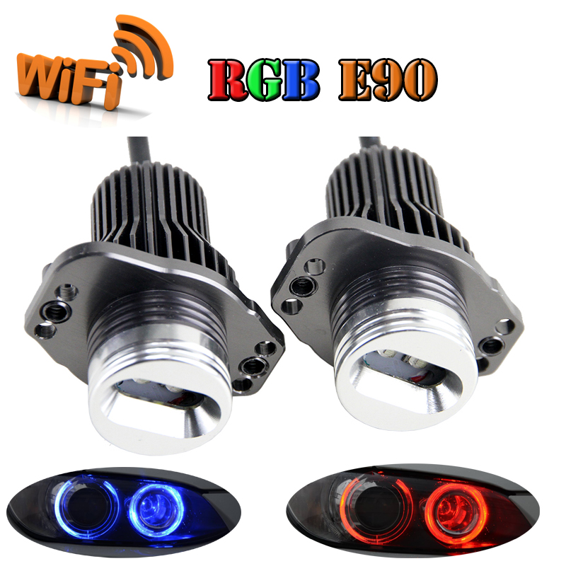 Free shipping Wifi control RGB color changing LED Angel Eyes Light 20W CREE chips for BMW E90 E91 sedan/wagon (2005~2008) free shipping 2pcs set rgb led marker angel eyes kit for bmw e90 e91 sedan wagon canbus no error wifi led angel eyes rings