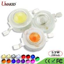 10 шт. UMAKED Высокая мощность 1 Вт 3 Вт Светодиодный светильник SMD теплый белый холодный красный синий желтый зеленый Светодиодный точечный светильник Epistar COB диодный чип