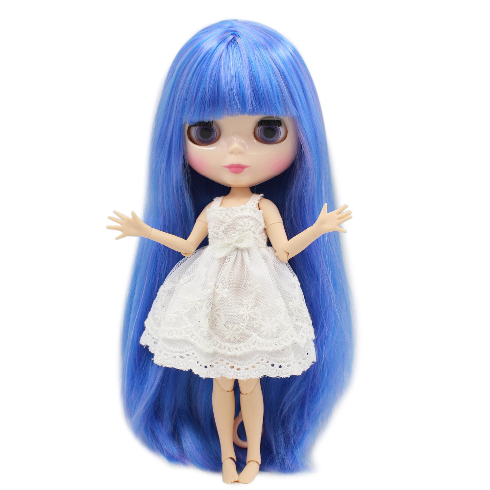 free shipping factory blyth doll bjd Mix blue hair with bangs/fringes neo 1/6 30cm joint body Toy Gift BL7216/6208 free shipping factory blyth doll icy orange hair with bangs fringes joint body 230bl0145 bjd neo 1 6 30cm