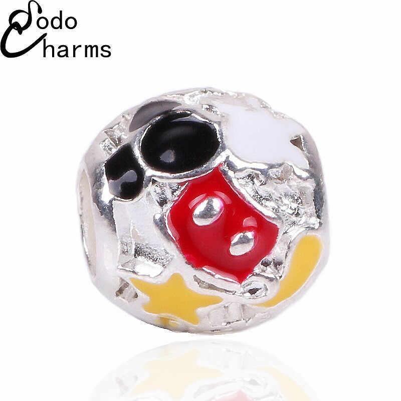 Dodocharms 1 sztuk duży otwór srebrny koraliki śliczne Mickey Charms pasuje do Diy Pandora Charms bransoletka biżuteria hurtowych koraliki