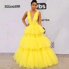 Сексуальное платье знаменитостей, сексуальное платье с v-образным вырезом, многослойное желтое платье с оборками, платье принцессы из тюля, вечернее платье для женщин, большие размеры, на заказ