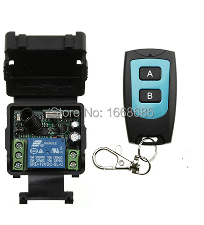 DC12V 1CH 10A RF Wireless Remote Control Switch System 1X Transmitter + 1 X Receiver light /lamp/ window/Garage Doors shutters