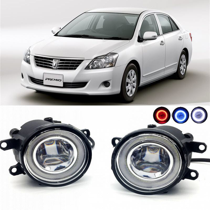 for Toyota Premio 2007-2017 2 in 1 LED Cut-Line Lens Fog Lights Lamp 3 Colors Angel Eyes DRL Daytime Running Lights car styling 2 in 1 led angel eyes drl daytime running lights cut line lens fog lamp for land rover freelander lr2 2007 2014