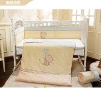 Promotie! Fluwelen baby wieg beddengoed set uitneembare wasbare babybedje wieg bumper afneembare ( bumper+sheet+pillow+duvet)