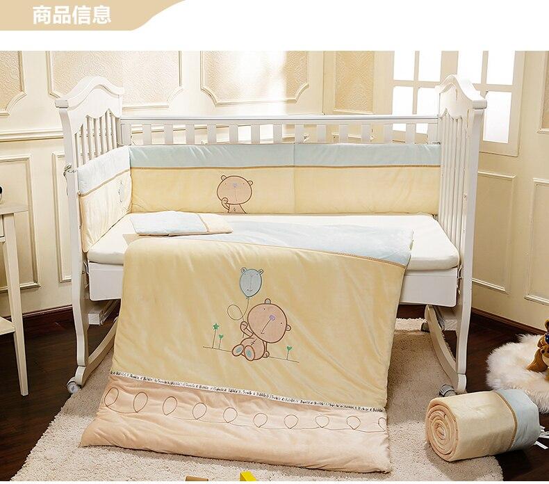 Promotion! Velvet Baby Crib Bedding Set Removable Washable Baby Cot Set Crib Bumper Detachable ,(bumper+sheet+pillow+duvet)