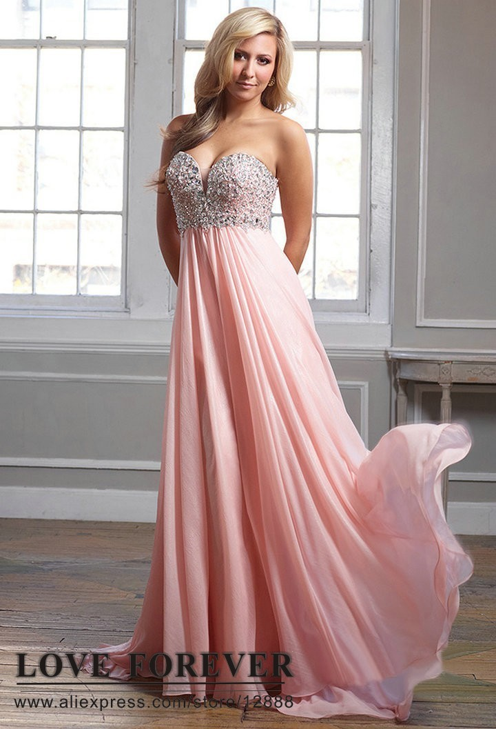 Fully Beading Bust Sweetheart Formal Prom Dress Pink Silver ...