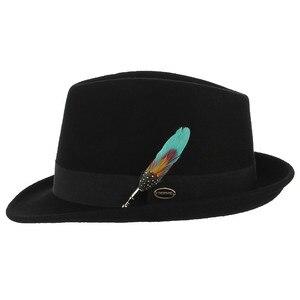 Image 4 - Мужская и женская шляпа трилби GEMVIE, формальная фетровая шляпа с закругленными полями, 100% шерстяной джазовый головной убор