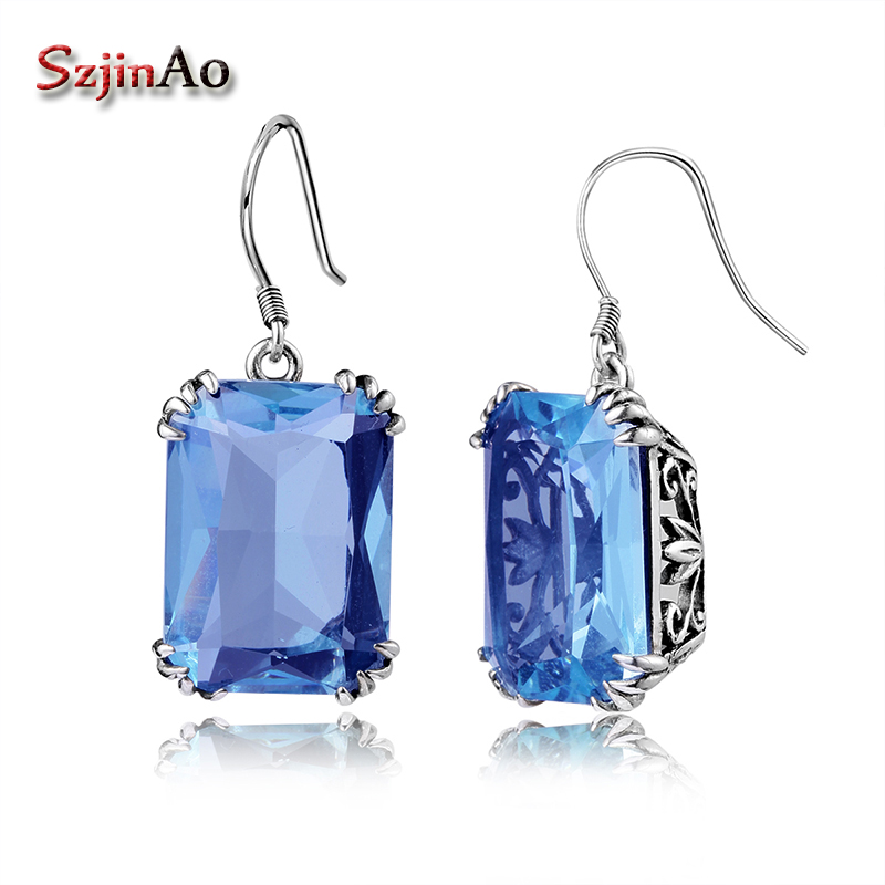 Szjinao Authentic 925 Silver Earrings Carving Decoration Design Vintage Restoring Ancient Ways Aquamarine Female Earrings