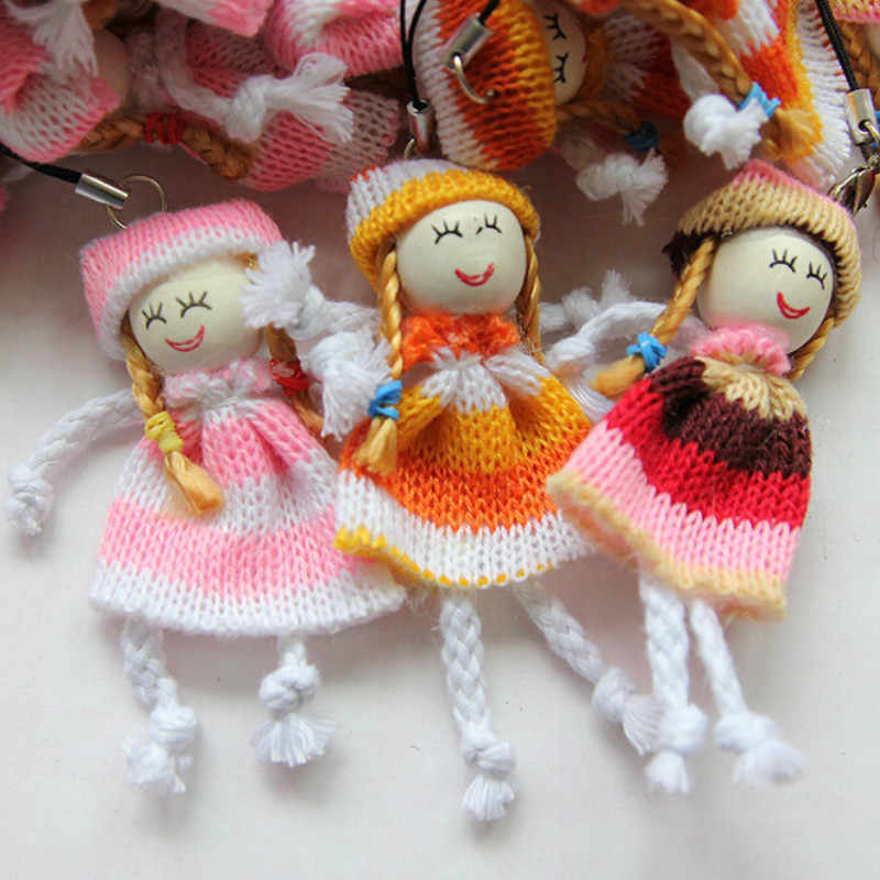 1 pieza nuevo 8 cm niños juguetes suave interactiva bebé muñecas llavero de lana muñeca étnica muñecas Mini muñeca llavero para niños y niñas