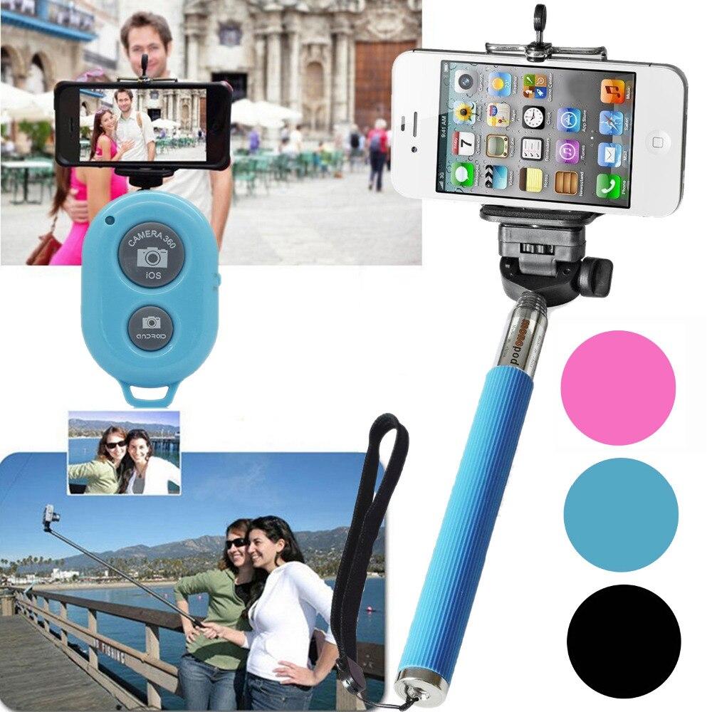 extendable hand held kit selfie stick monopod bluetooth remote shutter self timer for iphone 4s. Black Bedroom Furniture Sets. Home Design Ideas
