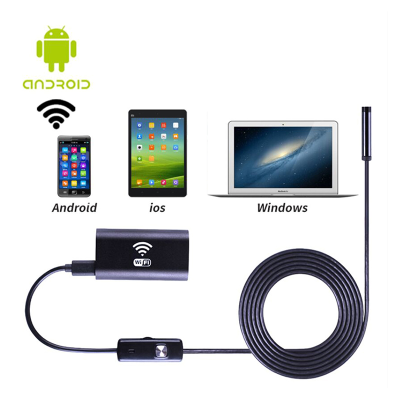 8mm WiFi Endoscope P67 Waterproof Inspection Camera 6 LED Wire Borescope for Android / Windows / iOS eyoyo nts200 endoscope inspection camera with 3 5 inch lcd monitor 8 2mm diameter 2 meters tube borescope zoom rotate flip