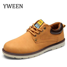 YWEEN Hot Sale Casual Shoes Men Spring Autumn Waterproof Solid Lace up Man Fashion Flat With