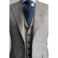 CUSTOM MADE TO MEASURE mens BESPOKE suit, TAILORED GREY tuxedos with big checker pattern(Jacket+Pants+Tie+Pocket Square)