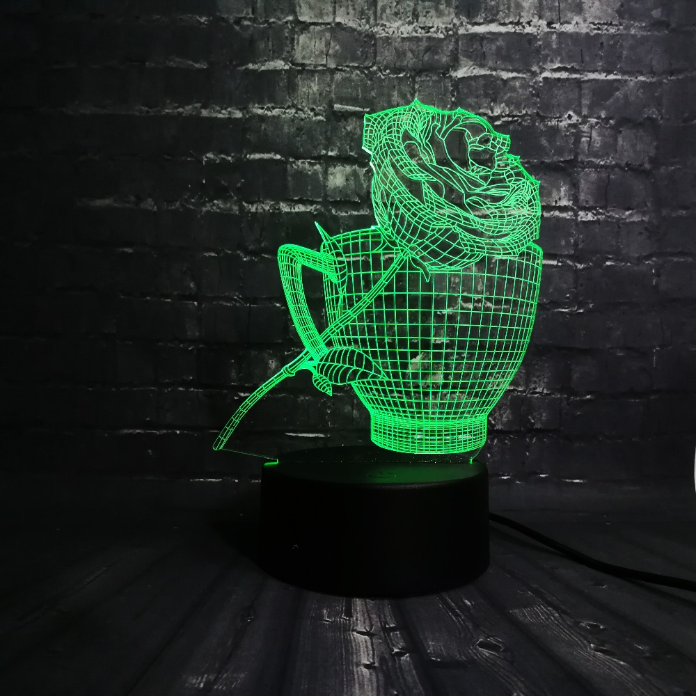 3D LED Night Light Rose Flower Coffe Cup Shop Decoration