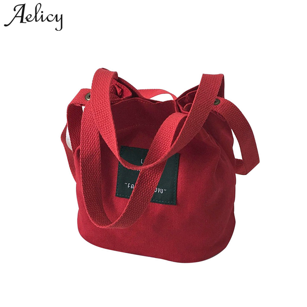 Aelicy Lady Canvas Handbag Mini single shoulder bag Crossbody Messenger bag women swagger bag Female shopping bags Bucket pack