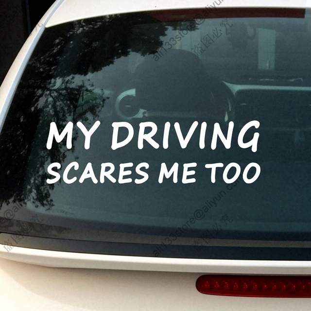 My driving scares me too funny car decal vinyl sticker no background choose your size