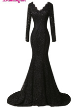 KapokBanyan Real Photo Black V Neck Lace Prom Dresses 2017 Sweep Train Three Quarter Sleeve Party Dress Appliques Robe de soiree