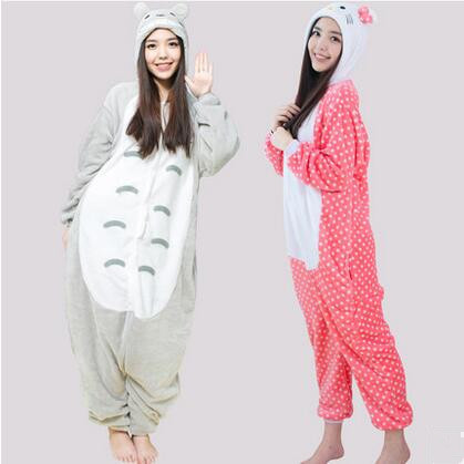 Cartoon Animal Adult Flannel Pajamas Ladies' Flannel Home Wear Pikachu Totoro Panda Hello Kitty Couple Jumpsuit Of Confession