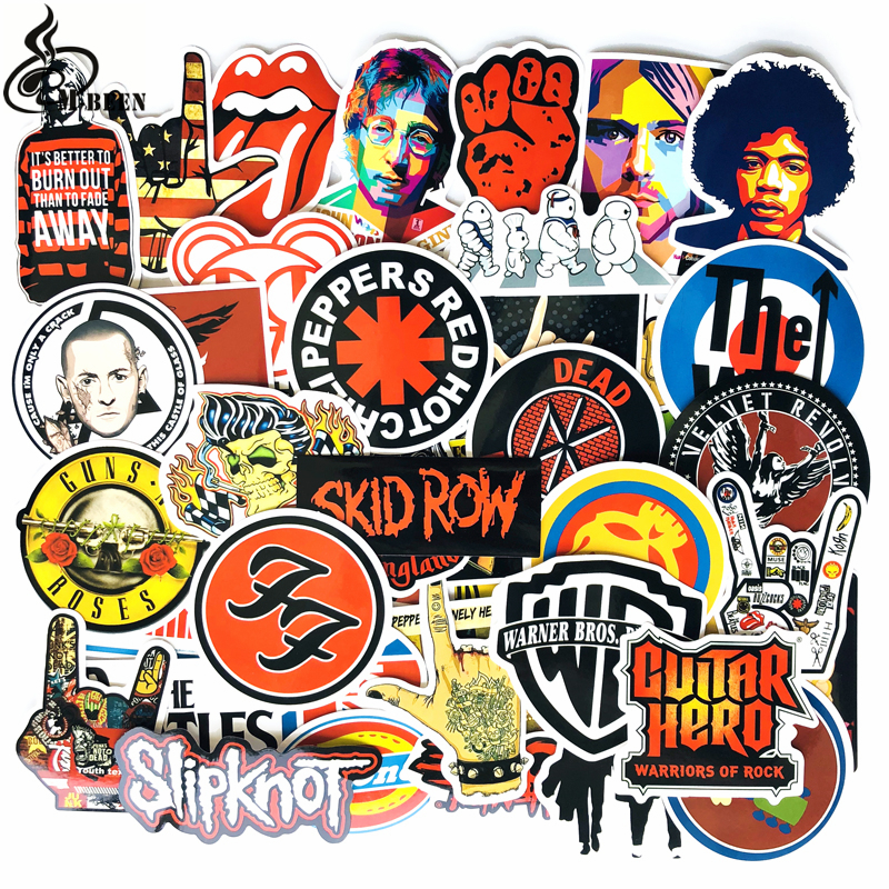 52pcs lot retro rock band music stickers grean day rhcp dead kennedys for guitar suitcase