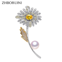 ZHBORUINI 2019 New Fine Jewelry Natural Freshwater Pearl Brooch Micro Zircons Two Color Flower Pins Women