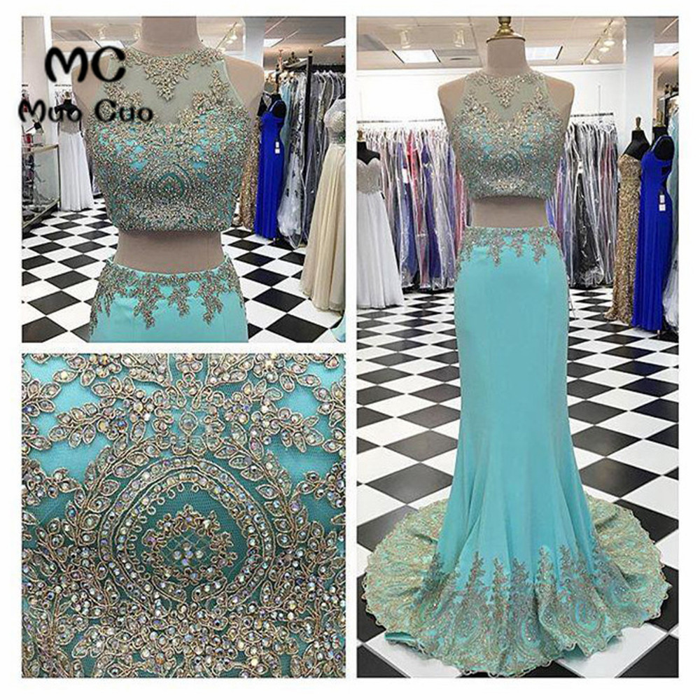 2018 Two Pieces Gown   Prom     dresses   Long with Lace Beaded   dress   for graduation Elastic Satin Mermaid Formal Evening   Prom     Dress