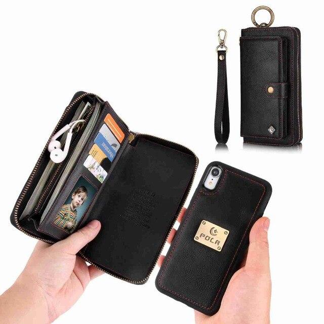 Funda de teléfono con monedero para iphone, Funda de cuero de lujo para iphone 12 mini 11 Pro X Xr Xs Max 6 s 7 8 Plus Se 2020 Apple Etui