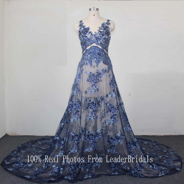 Sequins Lace Prom Dresses Formal Gowns Plus Size Crystal Blue Silver ...