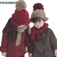 New Children Kids Baby Winter Hat Scarf Set Crochet Baby Hat Beanie Baby Girls Boys Warm