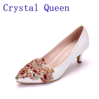 Crystal Queen 5cm Heel Woman Wedding Shoes Pumps With Luxury Rhinestones Bridal Shoes Female Ladies Bling Party Dress Shoes