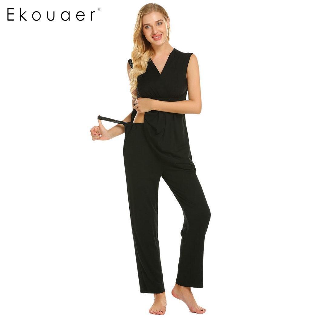 Ekouaer Women Cotton   Pajama     Set   Casual Maternity Nursing Breastfeeding Sleepwear   Pajamas   Female Soft Home Lounge Clothes