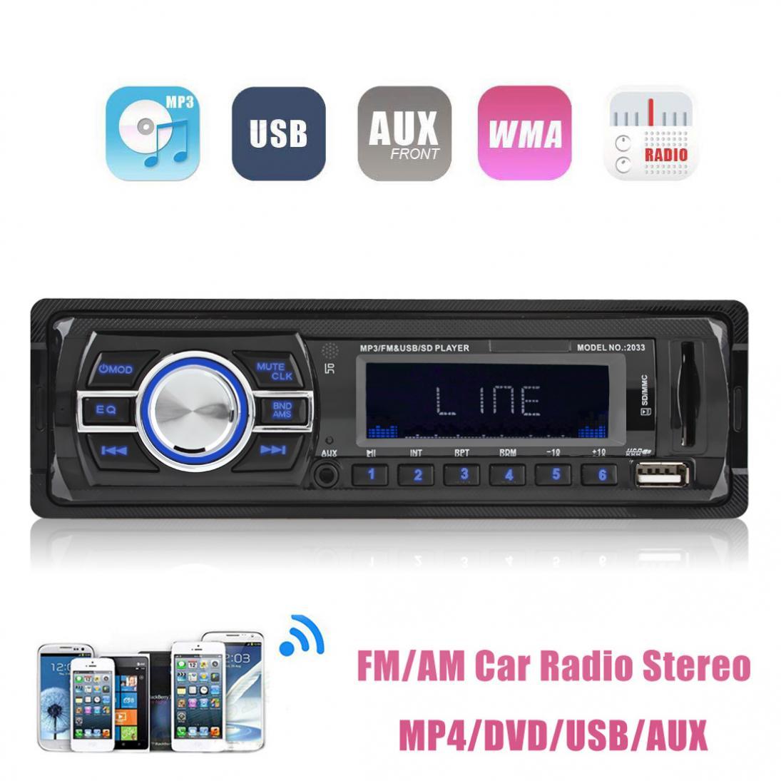 In Dash car bluetooth mp3 player 12V Car Audio Stereo FM transmiter Aux Input Receiver SD USB MP3 Radio Player + Remote Control