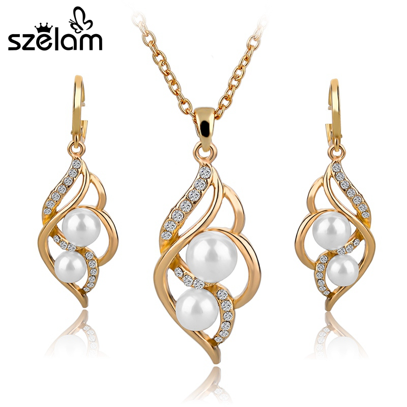 SZELAM Fashion Simulated Pearl Crystal Earrings Necklace Sets