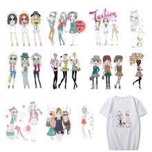 Pretty Girl Patch Set Iron-on Transfers Parches for Clothes DIY T-shirt Applique Heat Transfer Vinyl Parch Stickers on Clothing