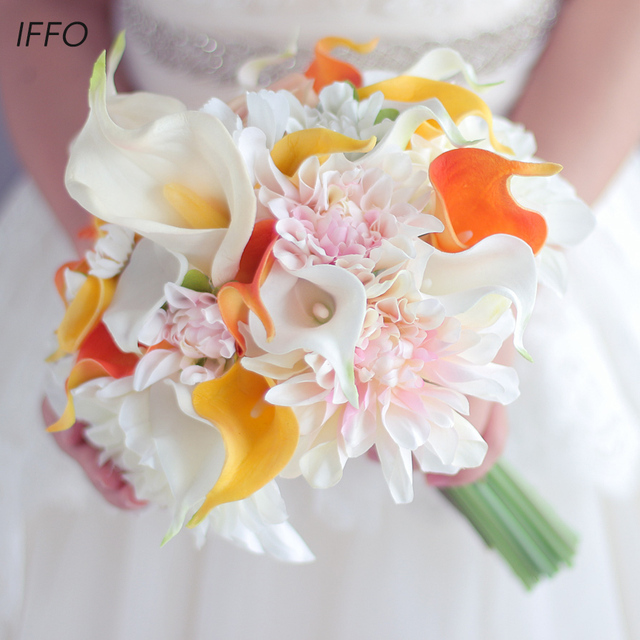 Yellow Orange Calla Lily Bouquet Dahlia Flower Wedding Bride Bridal Artificial Flowers Handmade Decoration Bouquets