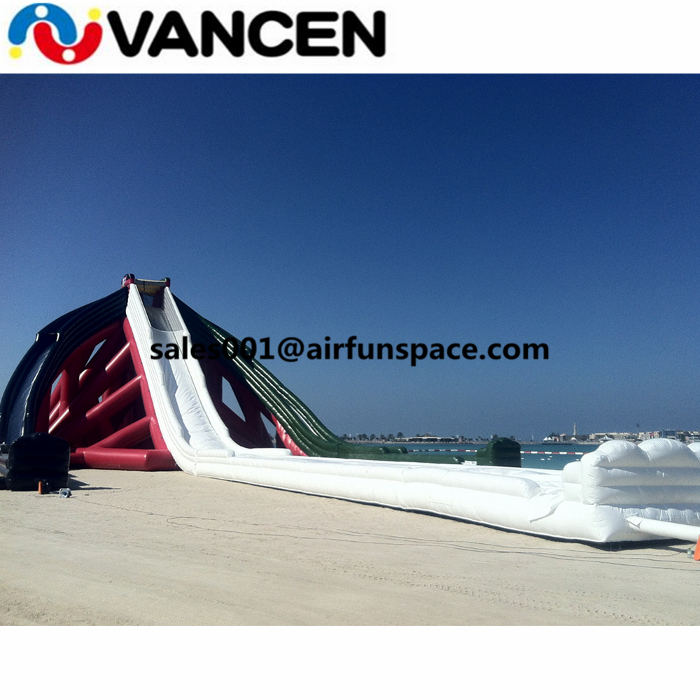 China manufacturer 70mL giant inflatable slide for inflatable games PVC beach slides CE certification air water slide