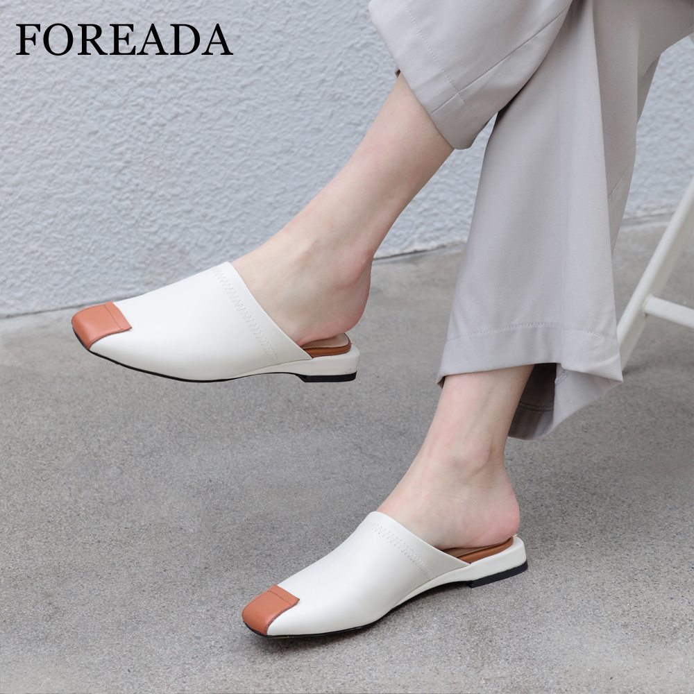 FOREADA Women Slides Summer Mules Shoes Natural Genuine Leather Flat Shoes Cow Leather Square Toe Slippers Lady Sandals Size 3-9FOREADA Women Slides Summer Mules Shoes Natural Genuine Leather Flat Shoes Cow Leather Square Toe Slippers Lady Sandals Size 3-9