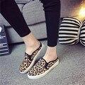 Бесплатная доставка женской обуви 2016 Carrefour обувь кожа лошади леопарда плотно эластичный досуг обувь обувь ноги любовника