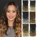 60cm Long Wavy Ombre Hair Extention 3/4 Full Head Clip in Hair Extensions Curly Hair Piece Hairpiece