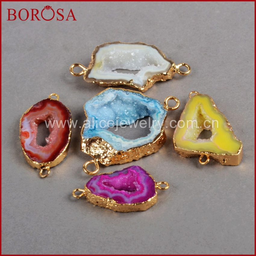 BOROSA Natural Druzy Drusy Stone Geode Slice Connector Druzy Jewelry Gold Color Free-form Stone Connector DIY Jewelry G0052