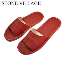 STONE VILLAGE Genuine Leather Shoes Home Slippers High Quality Cow Leather  Indoor Shoes Men And Women Shoes Summer Size 35 45