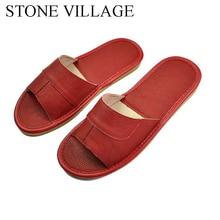 STONE VILLAGEของแท้รองเท้าหนังรองเท้าแตะหนังวัวคุณภาพสูงในร่มรองเท้าผู้หญิงรองเท้าฤดูร้อนขนาด35 45