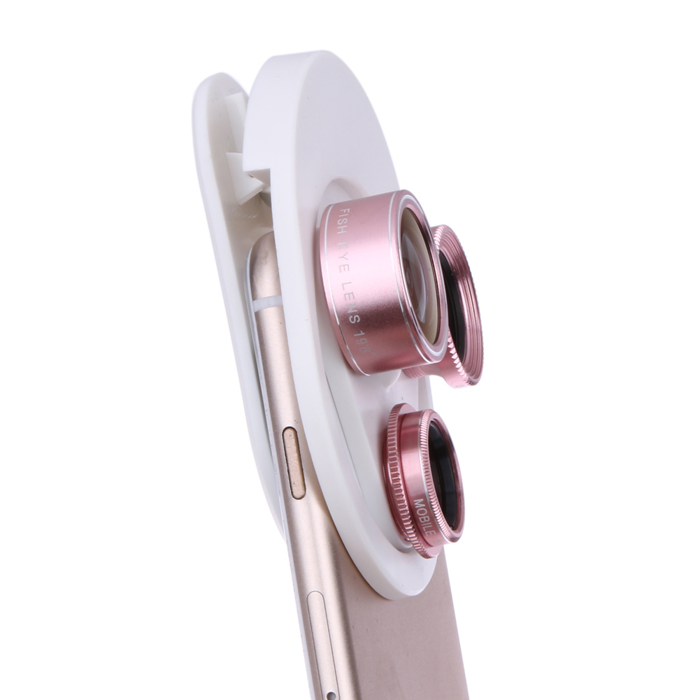 4 in 1 Cell Phone Clip-on Camera 198 Degree Fisheye Fish Eye Lens 0.63X Wide Angle 15X Macro Mobile Phone Lens Kit For iPhone 10